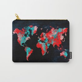 world map 82 red blue Carry-All Pouch