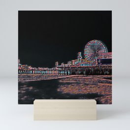 Stained Glass Santa Monica Pier Mini Art Print