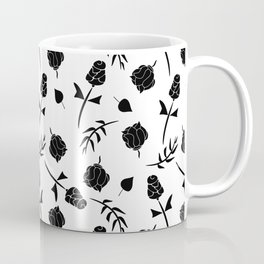 Contemporary Black and White Floral Pattern Coffee Mug