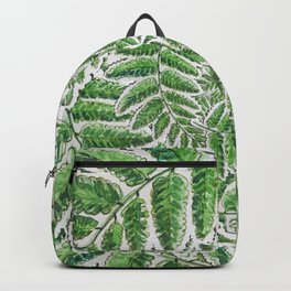 Green Fern leaves circular shape_Hand Painted watercolour & ink Backpack