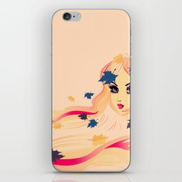 Fall leaves girl iPhone Skin