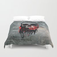 blood Duvet Covers featuring Blood Skull by Spooky Dooky