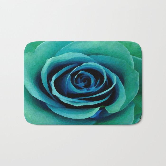 Painterly Rose - Blue- Green - Turquoise Bath Mat