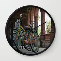bikes Wall Clocks featuring Bikes by Photaugraffiti
