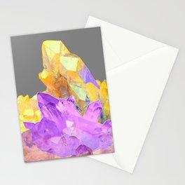 BOHO YELLOW & PURPLE QUARTZ CRYSTALS GREY ART Stationery Cards
