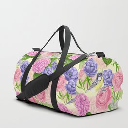 Tit bird and flowers Duffle Bag