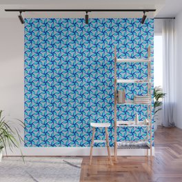 3D Zen Hues of Blues Light Cyan to Ocean Blue Radial Spiral Spirit Organic Wall Mural