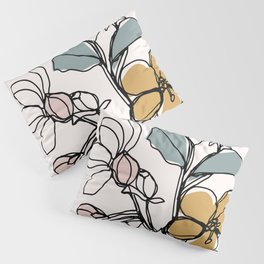 Petals and Leaves, Line Drawing with Pops of Color Pillow Sham