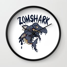 """A Unique Detailed Zombie Tee For Yourself? Here's An Awesome T-shirt Saying """"Zomshark"""" Design Ocean Wall Clock"""
