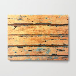 Orange Planks, Wood Texture Decor Metal Print