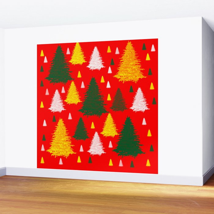 green gold silver Christmas trees on red background Wall Mural