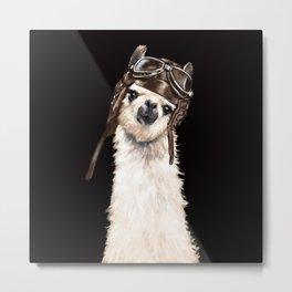 Cool Pilot Llama in Black Metal Print