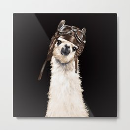 Cool Pilot Llama in Black Metal Print