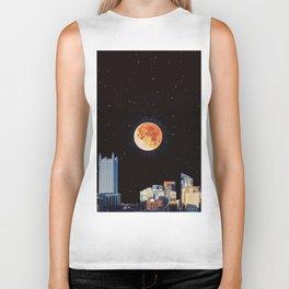 Blood Moon Over Pittsburgh Pennsylvania Skyline-Night Sky and Stars Biker Tank