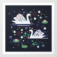 Swans on Stars Art Print