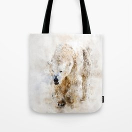 Abstract watercolor polar bear Tote Bag