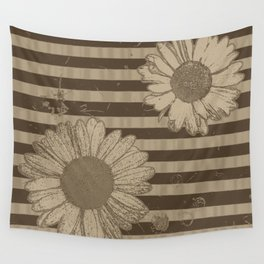 Beige Daisies with Stripes Wall Tapestry