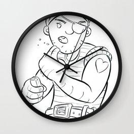 Stowaway Pirate - ink Wall Clock
