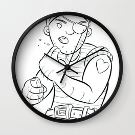 Stowaway Pirate - ink Wall Clock