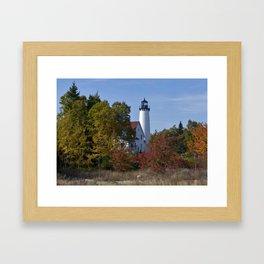 Pt Iroquois Lighthouse Fall Framed Art Print