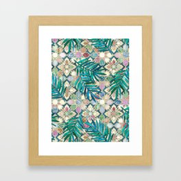 Muted Moroccan Mosaic Tiles with Palm Leaves Framed Art Print
