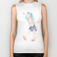 turquoise Biker Tanks featuring Turquoise by Thays Oyakawa