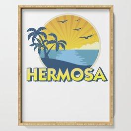 Vintage Hermosa Beach, California Surfing 70s Retro Serving Tray