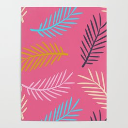 Multi-coloured palm leaf fronds on a pink background Poster