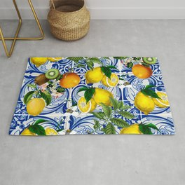 Mediterranean Lemon on Blue Ceramic Tiles Rug