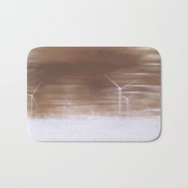 Ghostly wind turbines Bath Mat