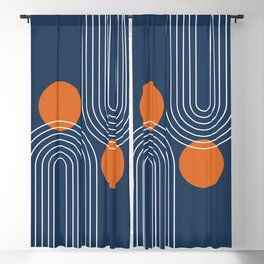 Mid Century Modern Geometric 83 in Navy Blue and Orange (Rainbow and Sun Abstraction) Blackout Curtain