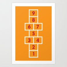 Hopscotch Orange Art Print