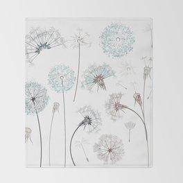 Hand drawn vector dandelions in rustic style Throw Blanket
