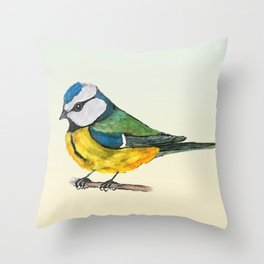 Blue tit watercolor Throw Pillow