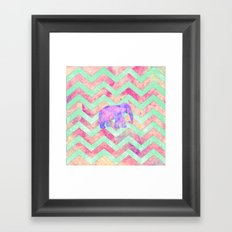 Whimsical Purple Elephant Mint Green Pink Chevron Framed Art Print
