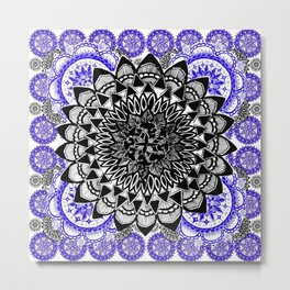 Blue and Black Patterned Mandala Metal Print