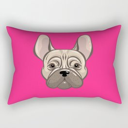 French Pink Bulldog Rectangular Pillow