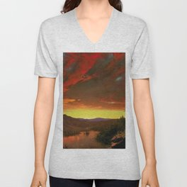 Twilight in the Wilderness by Frederic Edwin Church Unisex V-Neck