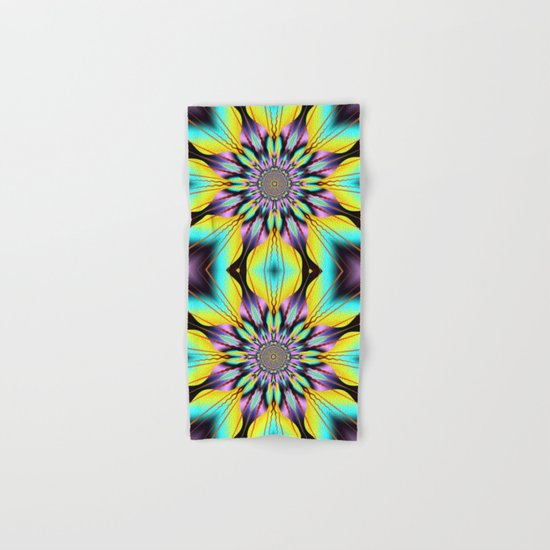 Fantasy sunflower with wavy rays and patterns Hand & Bath Towel