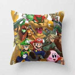 Mario and Friends (Nintendo) Throw Pillow