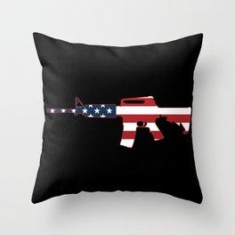 AR-15 Stars & Stripes Rifle Throw Pillow
