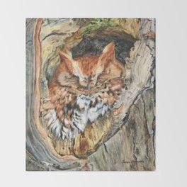 Woodland Screech by Teresa Thompson Throw Blanket