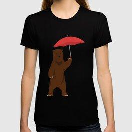 Bear Holding an Umbrella - Simplistic Design T-shirt