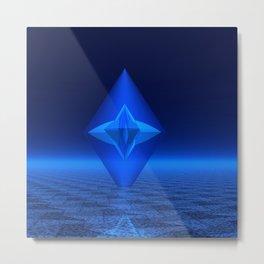 Blue Crystal Abstract Metal Print