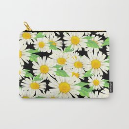 Profusion White Zinnia Flowers Pattern #2 Carry-All Pouch