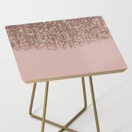 Blush Pink Rose Gold Bronze Cascading Glitter Side Table