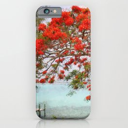 Wasting Away in Margaritaville - Key West, Straits of Florida landscape painting with Royal Poinciana blossoms iPhone Case