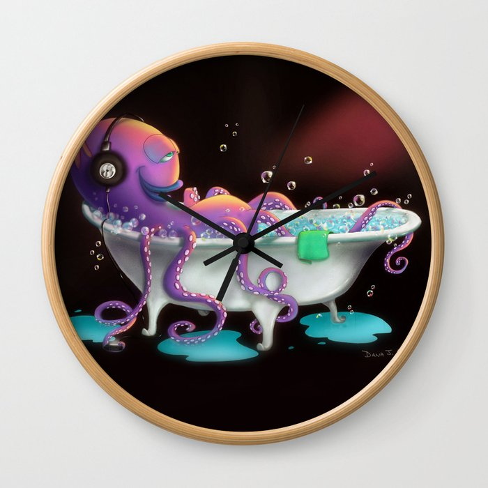 Octo Bath by dana alfonso Wall Clock