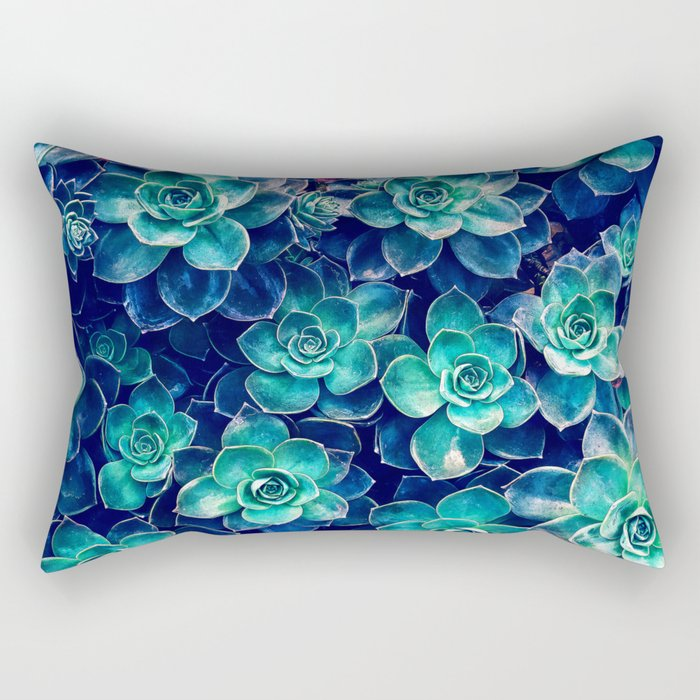Plants of Blue And Green Rectangular Pillow
