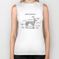 greyhound Biker Tanks featuring Greyhound Anatomy by gemma correll